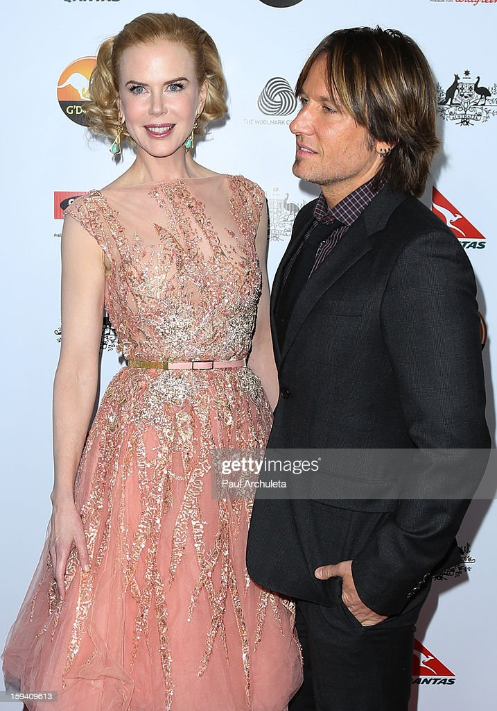 Actress Nicole Kidman (L) and Musician Keith Urban (R) attend the 2013 G'Day USA Los Angeles Black Tie Gala at JW Marriott Los Angeles at L.A. LIVE on January 12, 2013 in Los Angeles, California.