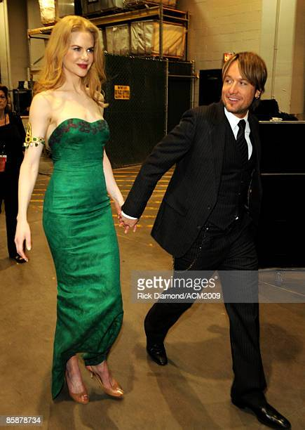 Actress Nicole Kidman and Musician Keith Urban backstage during the 44th annual Academy Of Country Music Awards' Artist of the Decade held at the MGM...