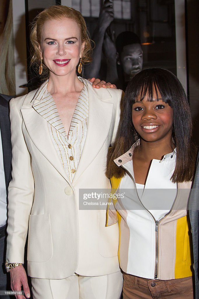 Actress <a gi-track='captionPersonalityLinkClicked' href=/galleries/search?phrase=Nicole+Kidman&family=editorial&specificpeople=156404 ng-click='$event.stopPropagation()'>Nicole Kidman</a> (L) and Olympic gymnast <a gi-track='captionPersonalityLinkClicked' href=/galleries/search?phrase=Gabby+Douglas&family=editorial&specificpeople=8465211 ng-click='$event.stopPropagation()'>Gabby Douglas</a> attend CW3PR Presents the inaugural 'Gold Meets Golden' event at New Flagship Equinox Sports Club on January 12, 2013 in Los Angeles, California.