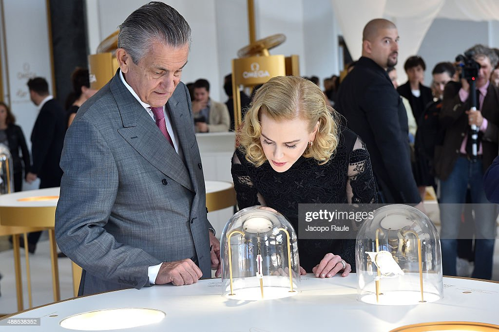 Actress Nicole Kidman and President Omega Stephen Urquhart attend OMEGA 'Her Time' Exhibition Opening at Triennale di Milano on September 16 2015 in...