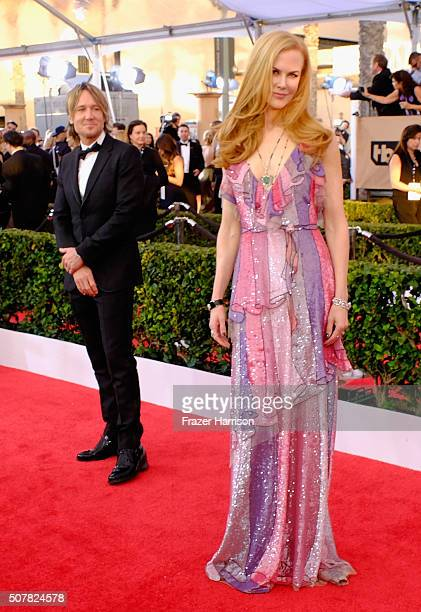 Actress Nicole Kidman and recording artist keith Urban arrives at the 22nd Annual Screen Actors Guild Awards at The Shrine Auditorium on January 30...
