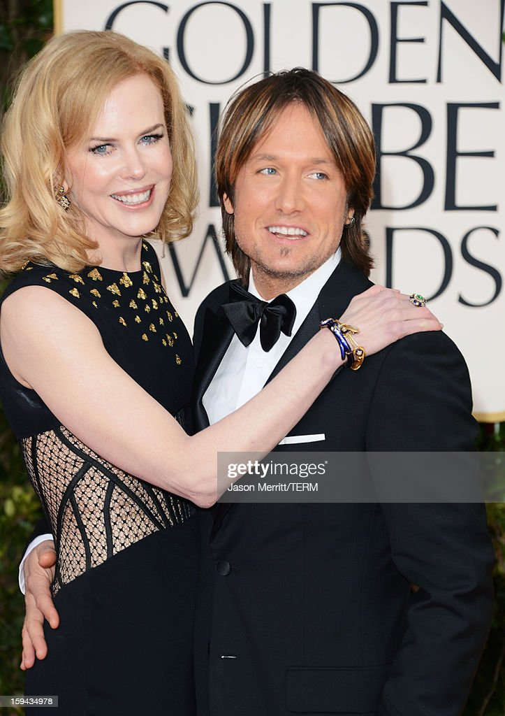 Actress Nicole Kidman and singer Keith Urban arrive at the 70th Annual Golden Globe Awards held at The Beverly Hilton Hotel on January 13, 2013 in Beverly Hills, California.