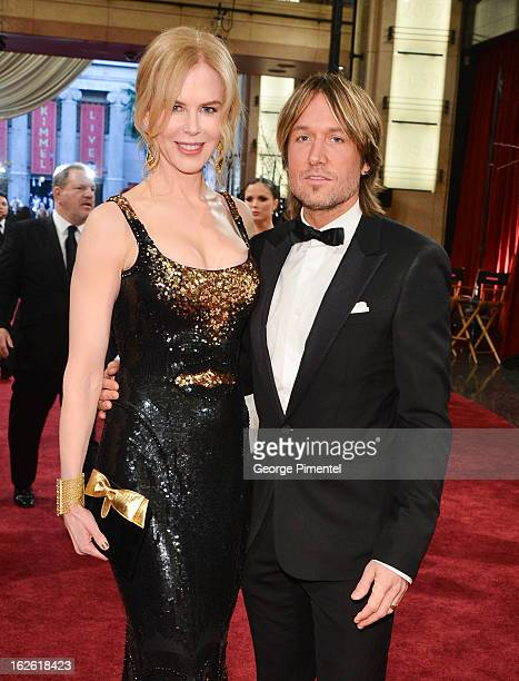 Actress Nicole Kidman and singer Keith Urban arrive at the Oscars at Hollywood Highland Center on February 24 2013 in Hollywood California at...