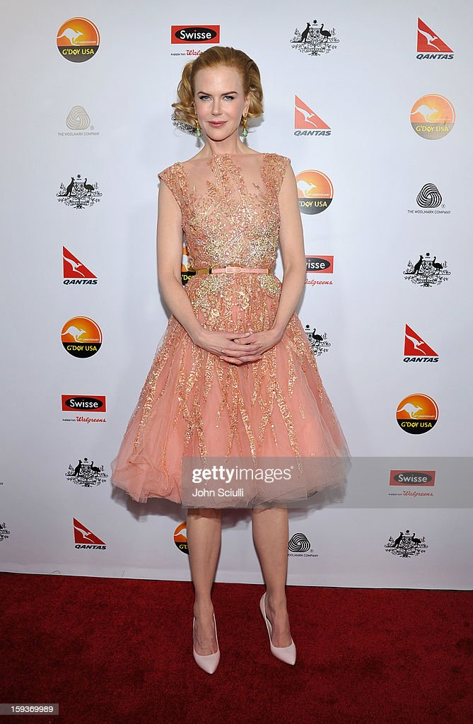 Actress <a gi-track='captionPersonalityLinkClicked' href=/galleries/search?phrase=Nicole+Kidman&family=editorial&specificpeople=156404 ng-click='$event.stopPropagation()'>Nicole Kidman</a> arrives at the 2013 G'Day USA Los Angeles Black Tie Gala at JW Marriott Los Angeles at L.A. LIVE on January 12, 2013 in Los Angeles, California.