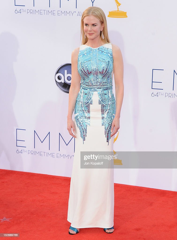 Actress <a gi-track='captionPersonalityLinkClicked' href=/galleries/search?phrase=Nicole+Kidman&family=editorial&specificpeople=156404 ng-click='$event.stopPropagation()'>Nicole Kidman</a> arrives at the 64th Primetime Emmy Awards at Nokia Theatre L.A. Live on September 23, 2012 in Los Angeles, California.