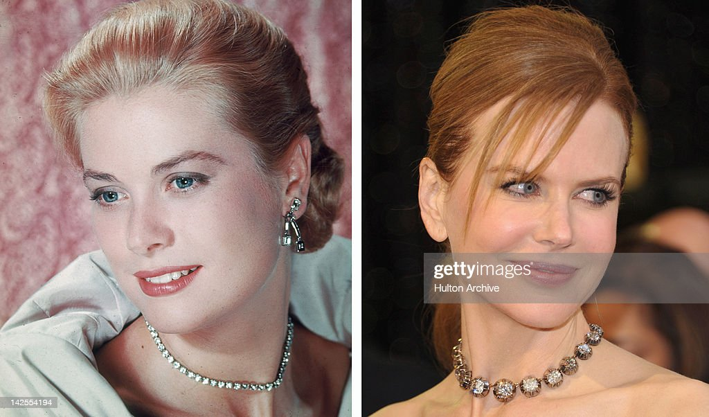 In this composite image a comparison has been made between <a gi-track='captionPersonalityLinkClicked' href=/galleries/search?phrase=Grace+Kelly+-+Actress&family=editorial&specificpeople=70044 ng-click='$event.stopPropagation()'>Grace Kelly</a> (L) and actress <a gi-track='captionPersonalityLinkClicked' href=/galleries/search?phrase=Nicole+Kidman&family=editorial&specificpeople=156404 ng-click='$event.stopPropagation()'>Nicole Kidman</a>. Actress <a gi-track='captionPersonalityLinkClicked' href=/galleries/search?phrase=Nicole+Kidman&family=editorial&specificpeople=156404 ng-click='$event.stopPropagation()'>Nicole Kidman</a> is reportedly in talks to play <a gi-track='captionPersonalityLinkClicked' href=/galleries/search?phrase=Grace+Kelly+-+Actress&family=editorial&specificpeople=70044 ng-click='$event.stopPropagation()'>Grace Kelly</a> in a film biopic directed by Olivier Dahan and written by Arash Amel. LOS ANGELES, CA - FEBRUARY 27: Actress <a gi-track='captionPersonalityLinkClicked' href=/galleries/search?phrase=Nicole+Kidman&family=editorial&specificpeople=156404 ng-click='$event.stopPropagation()'>Nicole Kidman</a> arrives at the 83rd Annual Academy Awards held at the Kodak Theatre on February 27, 2011 in Hollywood, California.