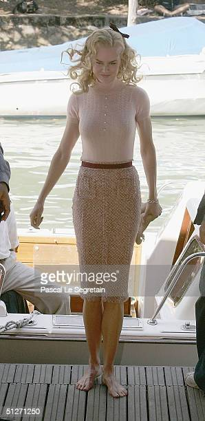 Actress Nicole Kidman arrives by boat for the 'Birth' Photocall at the 61st Venice Film Festival on September 8 2004 in Venice Italy