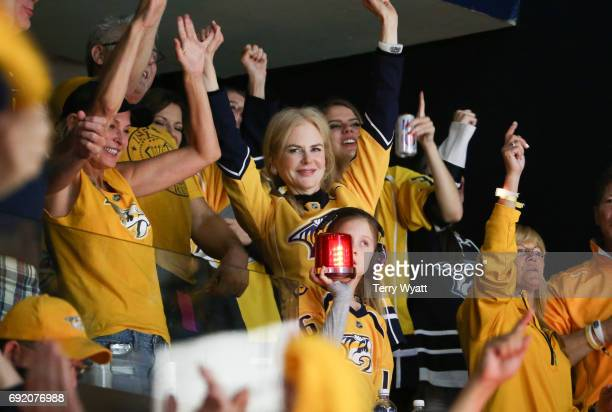 Actress Nicole Kidman attends the Stanley Cup Finals Game 3 Nashville Predators Vs Pittsburgh Penguins at Bridgestone Arena on June 3 2017 in...