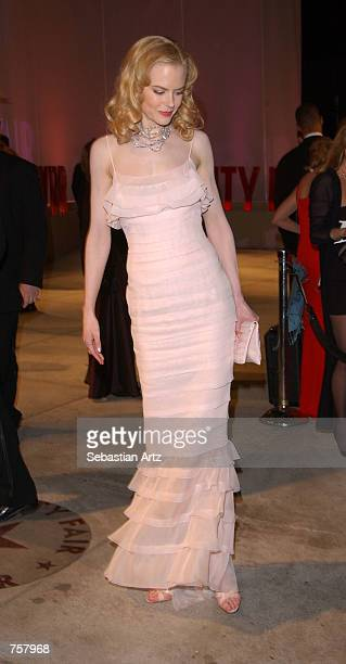 Actress Nicole Kidman attends the Vanity Fair Oscar Party at Mortons March 24 2002 in West Hollywood CA
