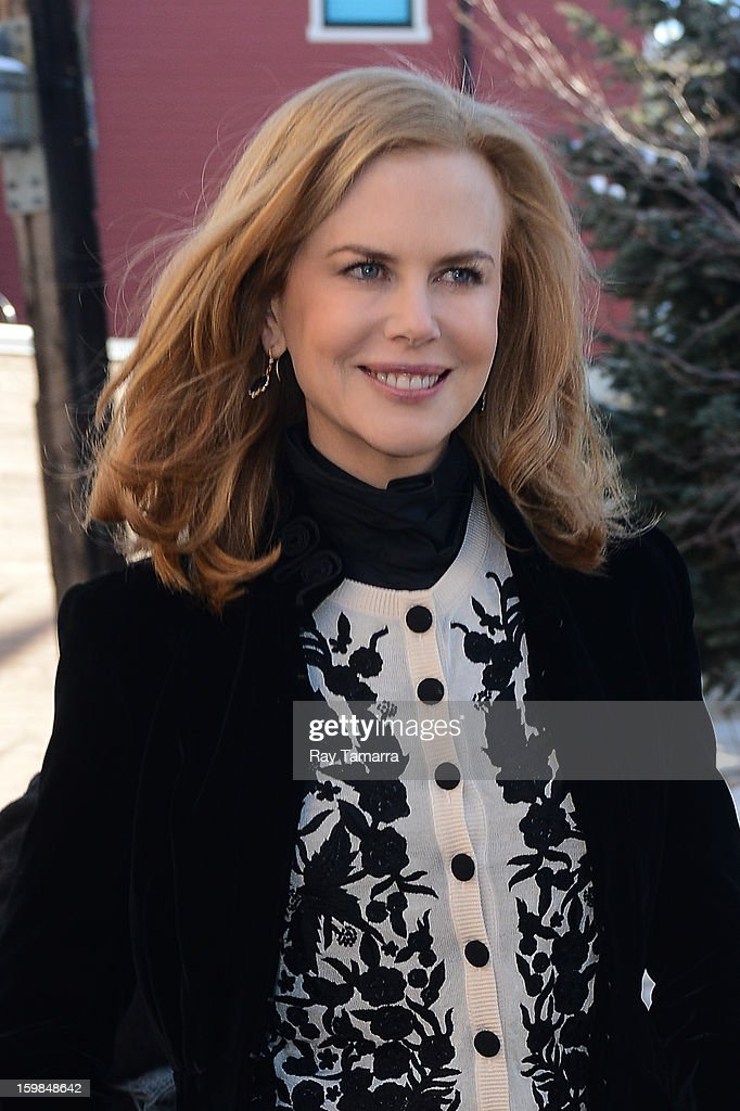 Actress <a gi-track='captionPersonalityLinkClicked' href=/galleries/search?phrase=Nicole+Kidman&family=editorial&specificpeople=156404 ng-click='$event.stopPropagation()'>Nicole Kidman</a> enters the AP portrait studio on January 21, 2013 in Park City, Utah.