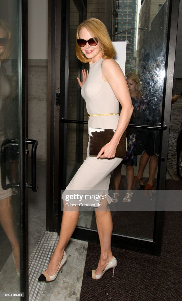 Actress <a gi-track='captionPersonalityLinkClicked' href=/galleries/search?phrase=Nicole+Kidman&family=editorial&specificpeople=156404 ng-click='$event.stopPropagation()'>Nicole Kidman</a> is seen arriving to Calvin Klein Collection fashion show during Mercedes-Benz Fashion Week Spring 2014 at Spring Studios on September 12, 2013 in New York City.