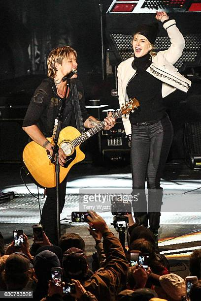 Actress Nicole Kidman joins her husband Keith Urban on stage during Jack Daniel's Music City Midnight New Year's Eve Celebration on December 31 2016...