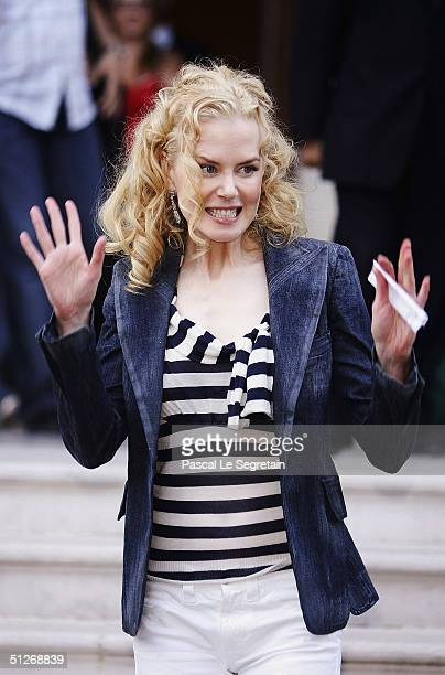 Actress Nicole Kidman leaves the Hotel des Bains during the 61st Venice Film Festival on September 7 2004 in Venice Italy