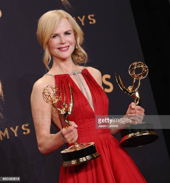 Actress Nicole Kidman poses in the press room at the 69th annual Primetime Emmy Awards at Microsoft Theater on September 17 2017 in Los Angeles...