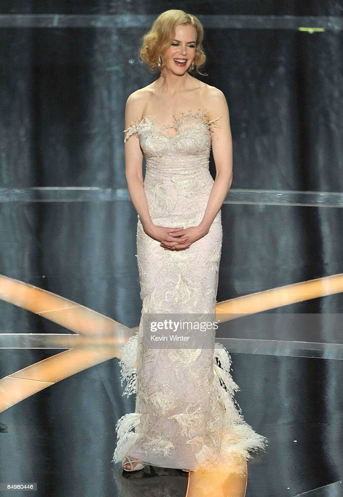 Actress <a gi-track='captionPersonalityLinkClicked' href=/galleries/search?phrase=Nicole+Kidman&family=editorial&specificpeople=156404 ng-click='$event.stopPropagation()'>Nicole Kidman</a> presents the award for Best Actress on stage during the 81st Annual Academy Awards held at Kodak Theatre on February 22, 2009 in Los Angeles, California.