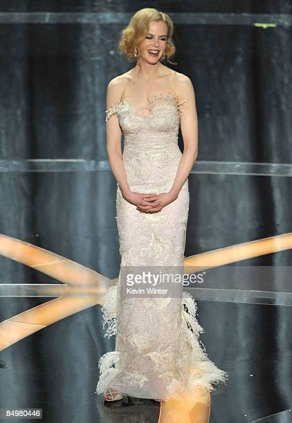Actress Nicole Kidman presents the award for Best Actress on stage during the 81st Annual Academy Awards held at Kodak Theatre on February 22 2009 in...
