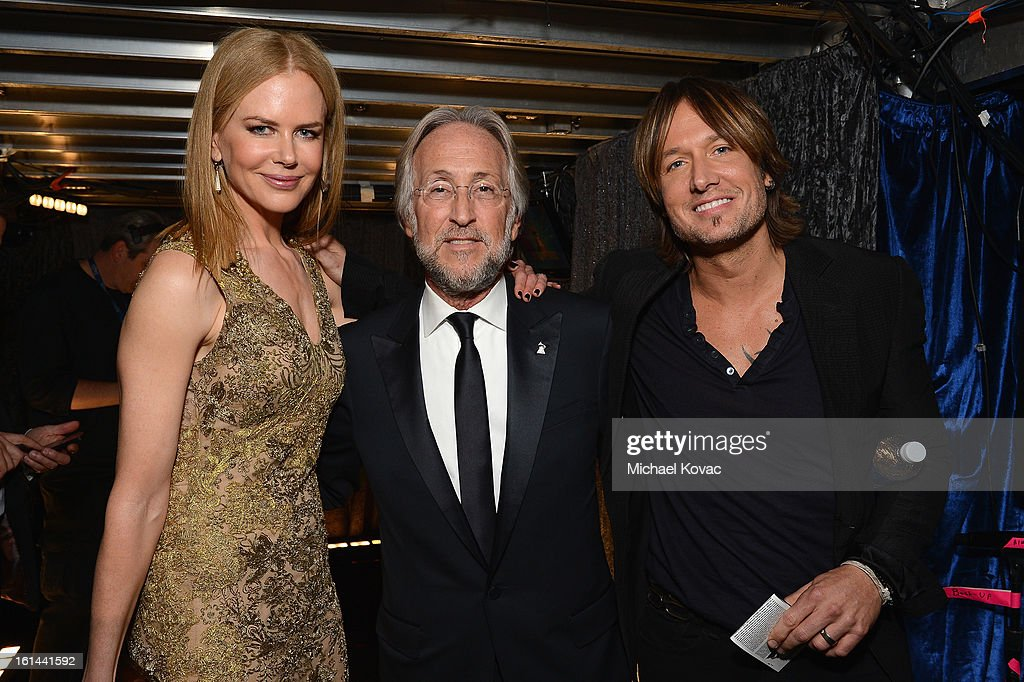 Actress Nicole Kidman, President/CEO of The Recording Academy Neil Portnow, and musician Keith Urban attend the 55th Annual GRAMMY Awards at STAPLES Center on February 10, 2013 in Los Angeles, California.