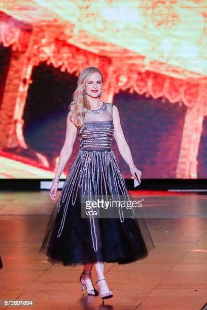 Actress Nicole Kidman speaks during 2017 Alibaba Singles' Day Global Shopping Festival gala at MercedesBenz Arena on November 10 2017 in Shanghai...