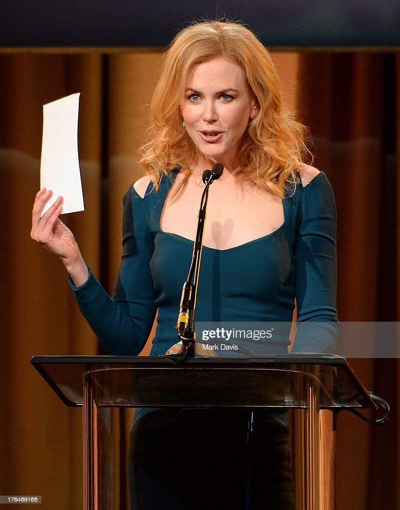 Actress <a gi-track='captionPersonalityLinkClicked' href=/galleries/search?phrase=Nicole+Kidman&family=editorial&specificpeople=156404 ng-click='$event.stopPropagation()'>Nicole Kidman</a> speaks onstage at the Hollywood Foreign Press Association's 2013 Installation Luncheon at The Beverly Hilton Hotel on August 13, 2013 in Beverly Hills, California.