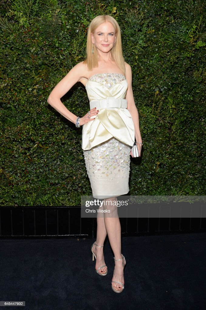 Actress Nicole Kidman, wearing CHANEL, attends the Charles Finch and CHANEL Pre-Oscar Awards Dinner at Madeo Restaurant on February 25, 2017 in Beverly Hills, California.