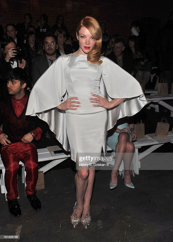 Actress Nicole LaLiberte attends Christian Siriano during Fall 2013 Mercedes-Benz Fashion Week at Eyebeam on February 9, 2013 in New York City.