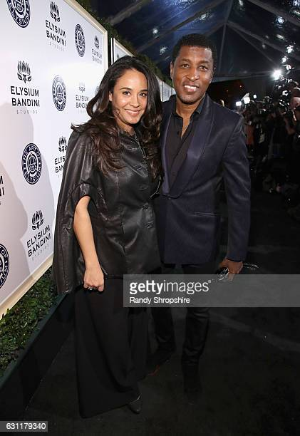 Actress Nicole Pantenburg and singersongwriter Kenneth 'Babyface' Edmonds attend The Art of Elysium presents Stevie Wonder's HEAVEN Celebrating the...