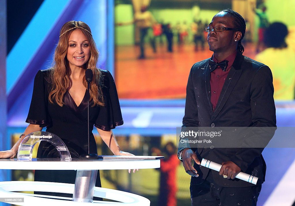 Actress <a gi-track='captionPersonalityLinkClicked' href=/galleries/search?phrase=Nicole+Richie&family=editorial&specificpeople=201646 ng-click='$event.stopPropagation()'>Nicole Richie</a> and 2012 HALO Award honoree Raymone George speak onstage at Nickelodeon's 2012 TeenNick HALO Awards at Hollywood Palladium on November 17, 2012 in Hollywood, California. The show premieres on Monday, November 19th, 8:00p.m. (ET) on Nick at Nite.