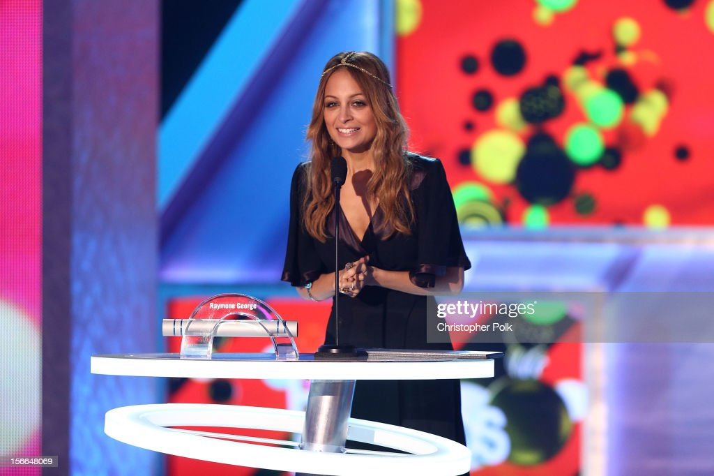 Actress <a gi-track='captionPersonalityLinkClicked' href=/galleries/search?phrase=Nicole+Richie&family=editorial&specificpeople=201646 ng-click='$event.stopPropagation()'>Nicole Richie</a> speaks onstage at Nickelodeon's 2012 TeenNick HALO Awards at Hollywood Palladium on November 17, 2012 in Hollywood, California. The show premieres on Monday, November 19th, 8:00p.m. (ET) on Nick at Nite.