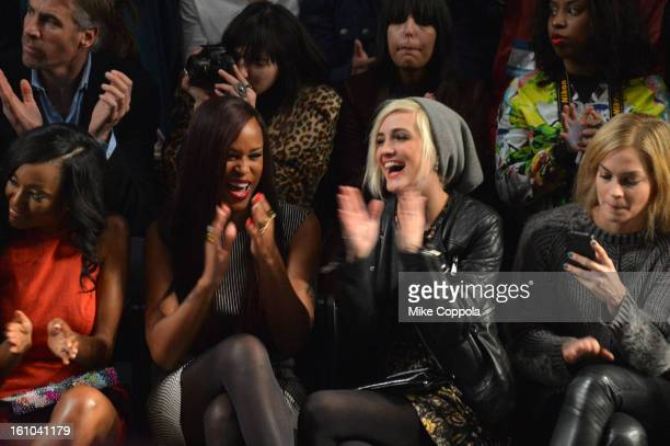 Actress Nicole Sperling singer Eve Ashlee Simpson and Leigh Lezark attend the Nicole Miller Fall 2013 fashion show during MercedesBenz Fashion Week...