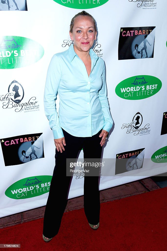Actress <a gi-track='captionPersonalityLinkClicked' href=/galleries/search?phrase=Nicole+Sullivan&family=editorial&specificpeople=618572 ng-click='$event.stopPropagation()'>Nicole Sullivan</a> arrives at 'CATberet' - A Musical Review for local cat and kitten rescue center Kitty Bungalow Charm School For Wayward Cats at Belasco Theatre on August 4, 2013 in Los Angeles, California.