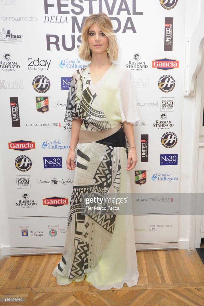 Actress <a gi-track='captionPersonalityLinkClicked' href=/galleries/search?phrase=Nicoletta+Romanoff&family=editorial&specificpeople=882525 ng-click='$event.stopPropagation()'>Nicoletta Romanoff</a> attends Russian Fashion Festival on November 14, 2012 in Milan, Italy.