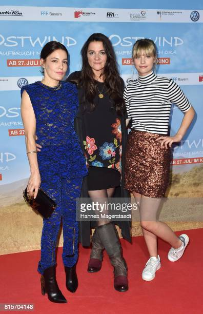 Actress Nicolette Krebitz Katja von Garnier and Hanna Binke during the 'Ostwind Aufbruch nach Ora' premiere n Munich at Mathaeser Filmpalast on July...