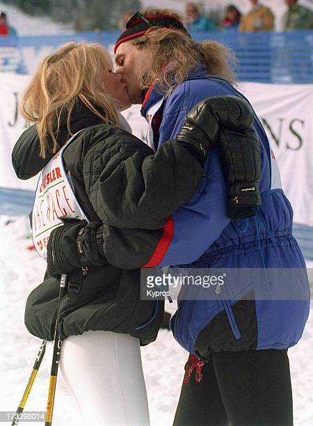 Actress Nicollette Sheridan with singer Michael Bolton during a skiing trip circa 1993