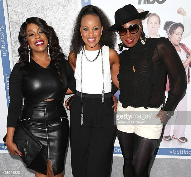 Actress Niecy Nash Kellee Stewart and Aisha Hinds attend the Premiere of HBO's 'Getting On' Season 2 at the Avalon on October 28 2014 in Hollywood...