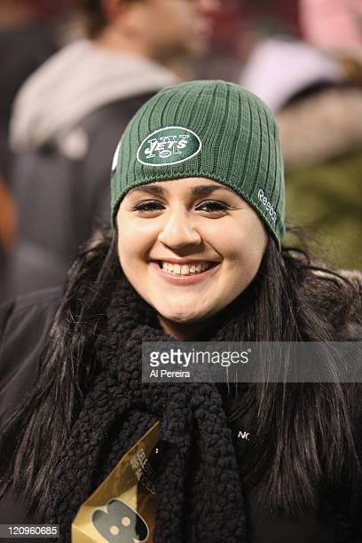 Actress Nikki Blonsky checks out the action on the sidelines when she attends the Cincinnati Bengals vs New York Jets game at Giants Stadium on...
