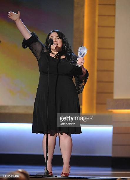Actress Nikki Blonsky onstage at the 13th ANNUAL CRITICS' CHOICE AWARDS at the Santa Monica Civic Auditorium on January 7 2008 in Santa Monica...