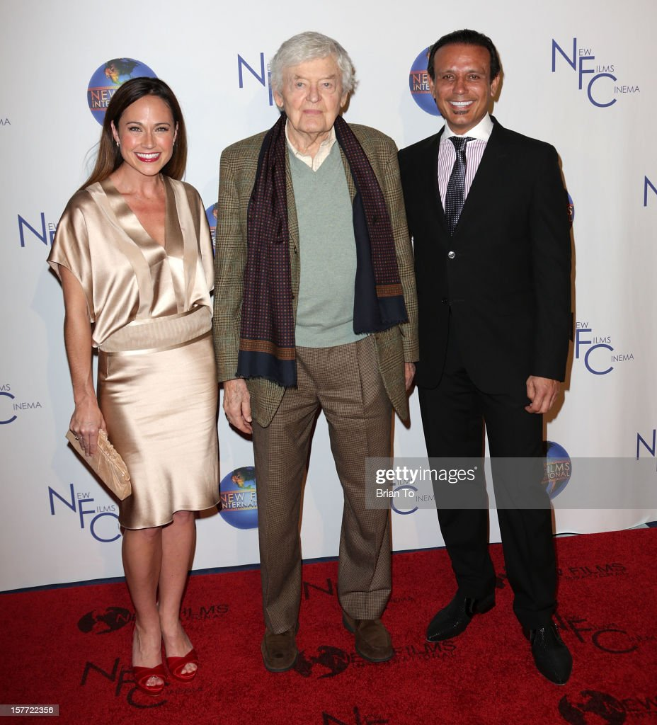 Actress Nikki Deloach, actor <a gi-track='captionPersonalityLinkClicked' href=/galleries/search?phrase=Hal+Holbrook&family=editorial&specificpeople=227185 ng-click='$event.stopPropagation()'>Hal Holbrook</a>, (L) and executive producer Nesim Hason attend Flying Lessons - Los Angeles premiere at Laemmle Monica 4-Plex on December 5, 2012 in Santa Monica, California.