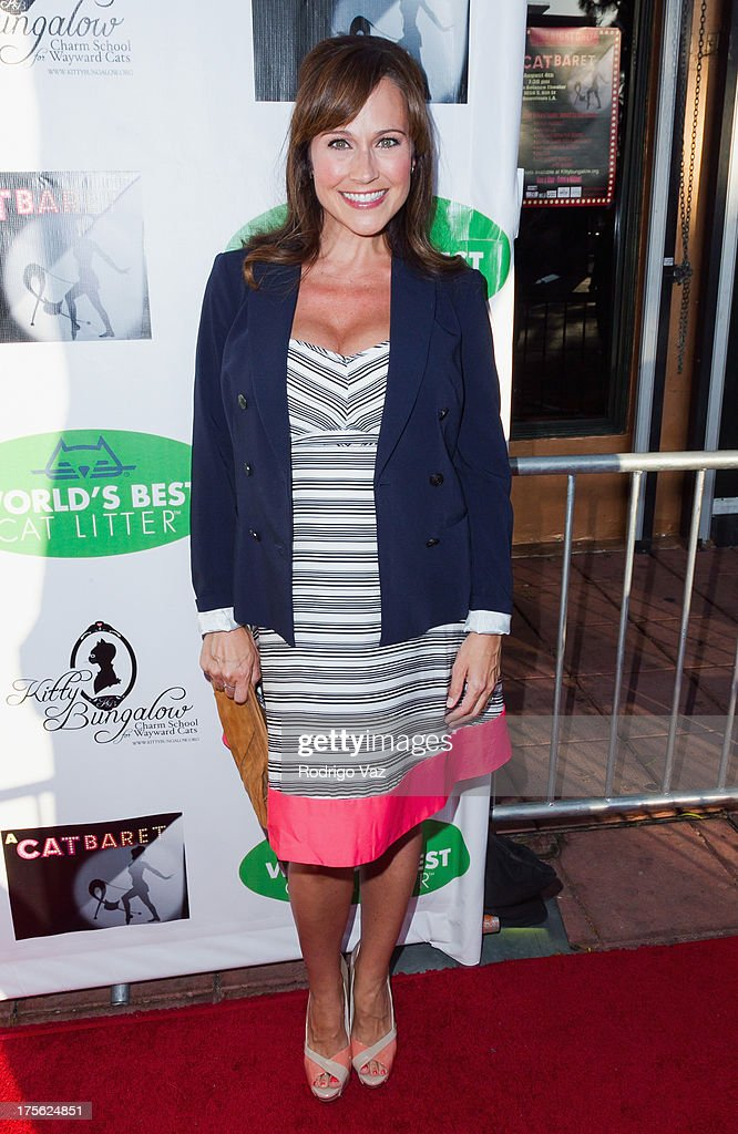 Actress Nikki Deloach arrives at 'CATberet' - A Musical Review for local cat and kitten rescue center Kitty Bungalow Charm School For Wayward Cats at Belasco Theatre on August 4, 2013 in Los Angeles, California.
