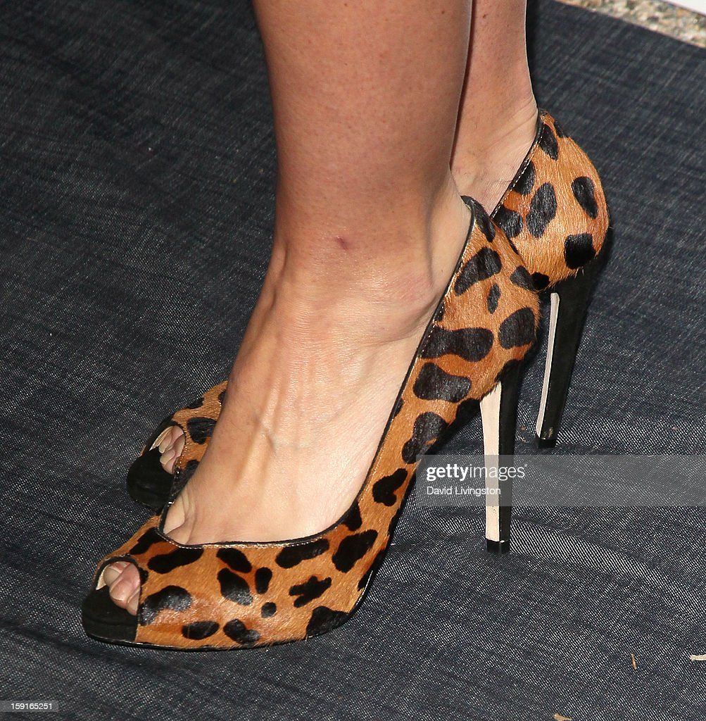 Actress Nikki DeLoach (shoe detail) attends DoSomething.org and Aeropostale celebrating the launch of the 6th Annual 'Teens For Jeans' campaign hosted by Chloe Moretz at Palihouse on January 8, 2013 in West Hollywood, California.