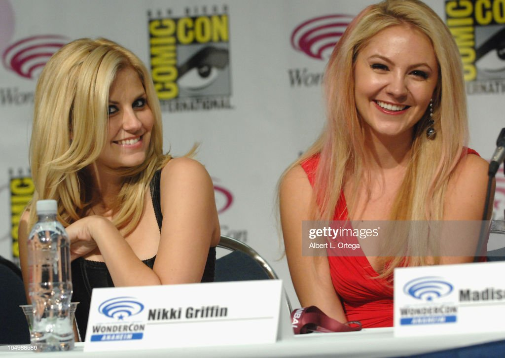 Actress <a gi-track='captionPersonalityLinkClicked' href=/galleries/search?phrase=Nikki+Griffin&family=editorial&specificpeople=736850 ng-click='$event.stopPropagation()'>Nikki Griffin</a> and actress Madison Dylan participate at WonderCon Anaheim 2013 - Day 1 at Anaheim Convention Center on March 29, 2013 in Anaheim, California.