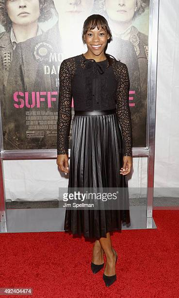 Actress Nikki M James attends the 'Suffragette' New York premiere at The Paris Theatre on October 12 2015 in New York City