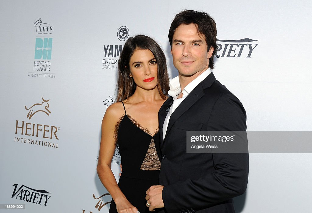 Actress Nikki Reed and actor Ian Somerhalder attend Heifer International's 4th Annual Beyond Hunger Gala at the Montage on September 18 2015 in...