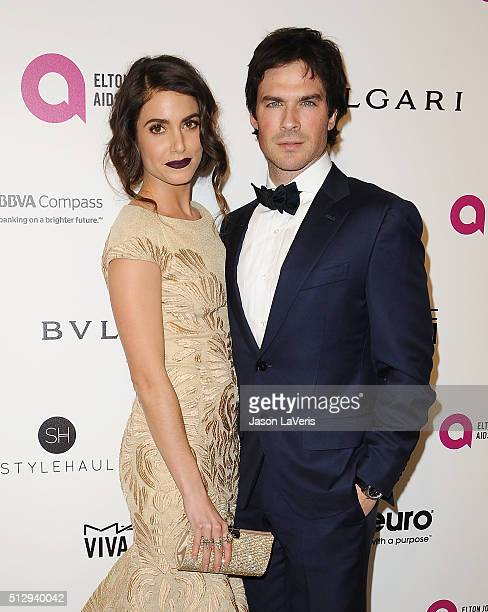 Actress Nikki Reed and actor Ian Somerhalder attend the 24th annual Elton John AIDS Foundation's Oscar viewing party on February 28 2016 in West...