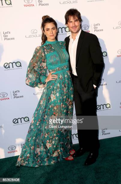 Actress Nikki Reed and actor Ian Somerhalder attend the 27th Annual EMA Awards at Barker Hangar on September 23 2017 in Santa Monica California