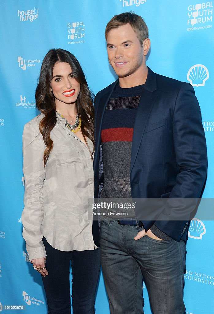 Actress Nikki Reed (L) and actor Kellan Lutz arrive at the United Nations Foundation's 'mPowering Action' Innovative Mobile Platform launch party at The Conga Room at L.A. Live on February 8, 2013 in Los Angeles, California.