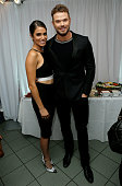 Actress Nikki Reed and actor Kellan Lutz in the green room at the 2014 Young Hollywood Awards brought to you by Samsung Galaxy at The Wiltern on July...