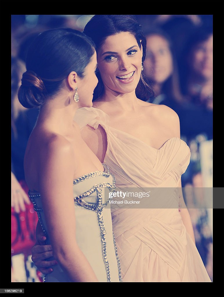 Actress <a gi-track='captionPersonalityLinkClicked' href=/galleries/search?phrase=Nikki+Reed&family=editorial&specificpeople=220844 ng-click='$event.stopPropagation()'>Nikki Reed</a> (L) and actress <a gi-track='captionPersonalityLinkClicked' href=/galleries/search?phrase=Ashley+Greene&family=editorial&specificpeople=781552 ng-click='$event.stopPropagation()'>Ashley Greene</a> arrive at the Summit Entertainment's 'The Twilight Saga: Breaking Dawn - Part 2' at Nokia Theatre L.A. Live on November 12, 2012 in Los Angeles, California.