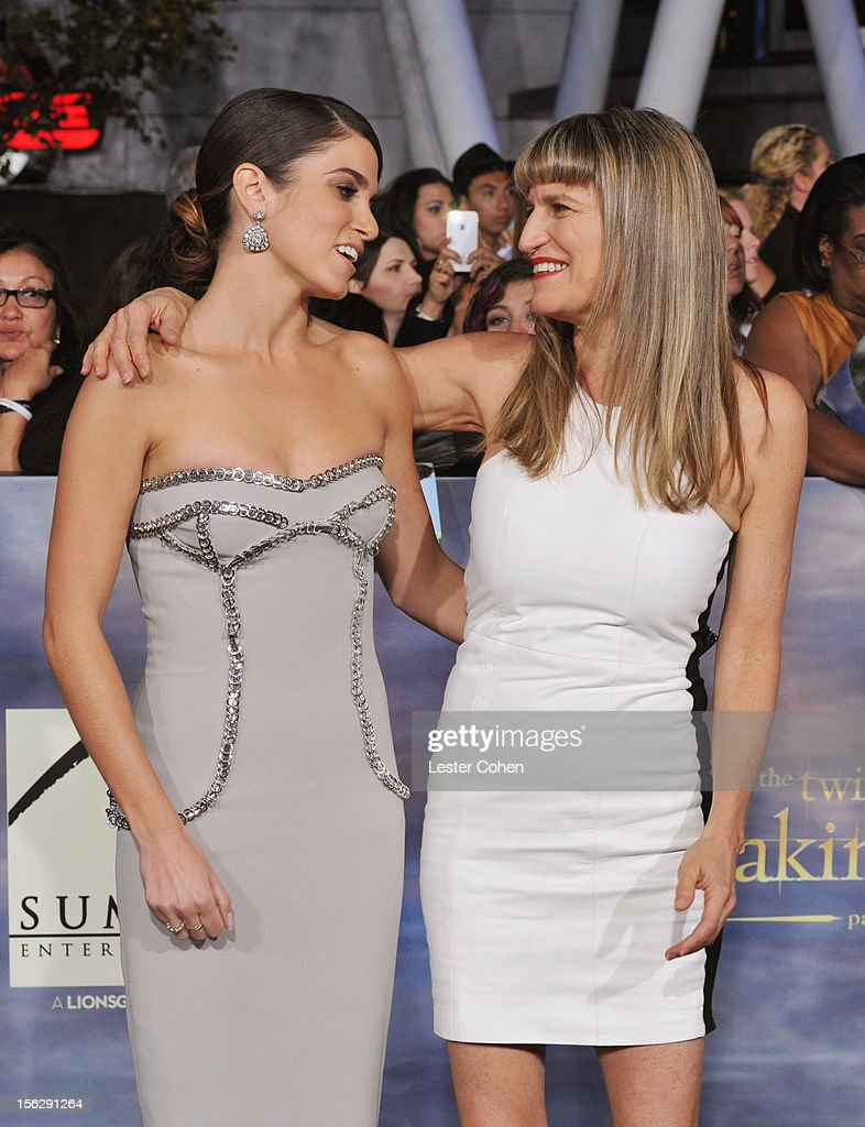 Actress Nikki Reed (L) and Catherine Hardwicke arrive at 'The Twilight Saga: Breaking Dawn - Part 2' Los Angeles premiere at the Nokia Theatre L.A. Live on November 12, 2012 in Los Angeles, California.