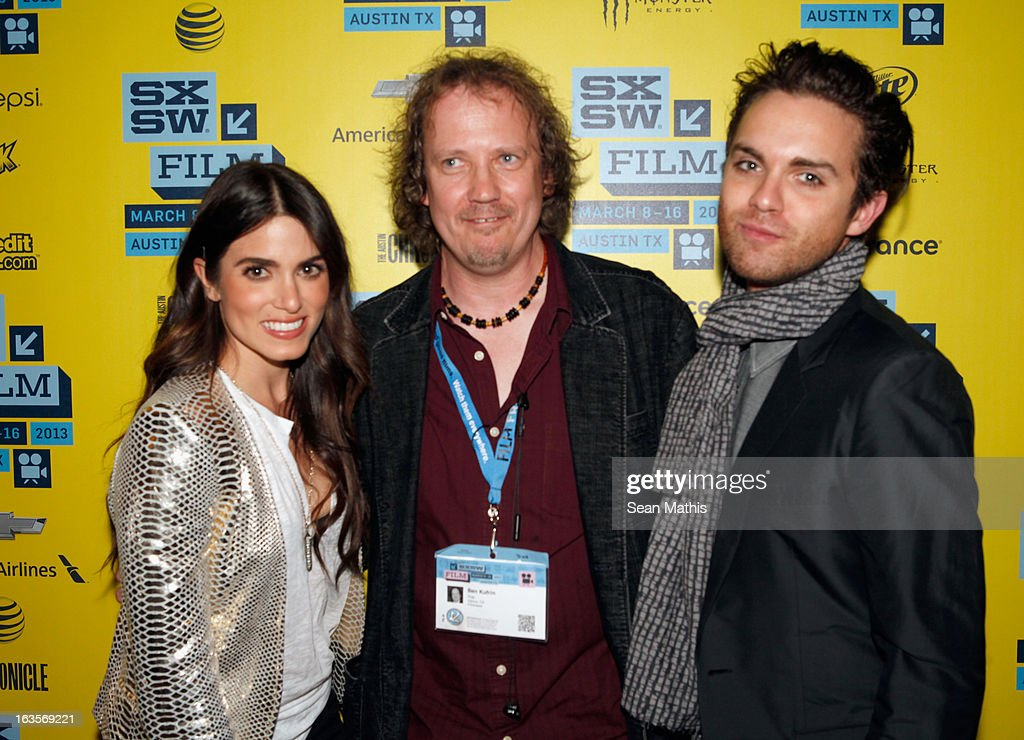 Actress <a gi-track='captionPersonalityLinkClicked' href=/galleries/search?phrase=Nikki+Reed&family=editorial&specificpeople=220844 ng-click='$event.stopPropagation()'>Nikki Reed</a>, cinematographer Ben Kufrin and actor Thomas Dekker pose in the greenroom at the screening of 'Snap' during the 2013 SXSW Music, Film + Interactive Festival at Alamo Ritz on March 11, 2013 in Austin, Texas.
