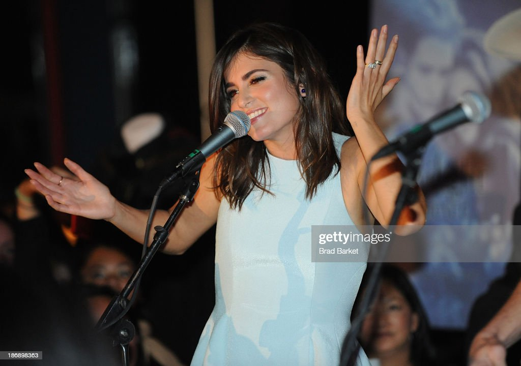 Actress <a gi-track='captionPersonalityLinkClicked' href=/galleries/search?phrase=Nikki+Reed&family=editorial&specificpeople=220844 ng-click='$event.stopPropagation()'>Nikki Reed</a> performs at the Twilight Forever Fan Experience Exhibit launch at Planet Hollywood Times Square on November 4, 2013 in New York City.